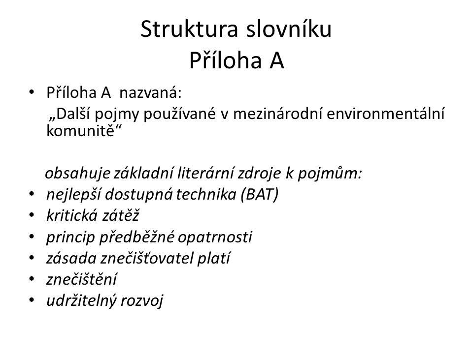 """Struktura slovníku Příloha A Příloha A nazvaná: """"Další pojmy používané v mezinárodní environmentální komunitě"""" obsahuje základní literární zdroje k po"""