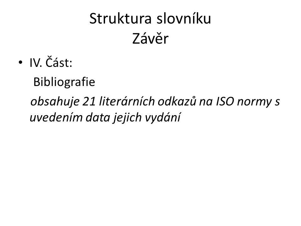Struktura slovníku Závěr IV. Část: Bibliografie obsahuje 21 literárních odkazů na ISO normy s uvedením data jejich vydání