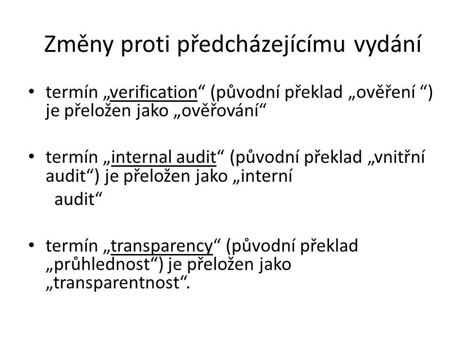 """Změny proti předcházejícímu vydání termín """"verification (původní překlad """"ověření ) je přeložen jako """"ověřování termín """"internal audit (původní překlad """"vnitřní audit ) je přeložen jako """"interní audit termín """"transparency (původní překlad """"průhlednost ) je přeložen jako """"transparentnost ."""