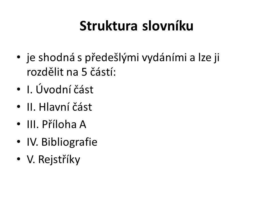 Struktura slovníku je shodná s předešlými vydáními a lze ji rozdělit na 5 částí: I. Úvodní část II. Hlavní část III. Příloha A IV. Bibliografie V. Rej