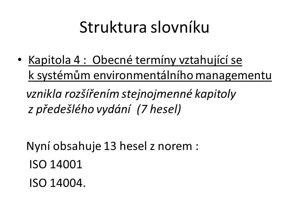 Struktura slovníku Kapitola 5: Termíny vztahující se k validaci, ověřování a auditu vznikla rozšířením dřívější kapitoly nazvané: Termíny z oblasti auditu (13 hesel) Nyní obsahuje 45 hesel vybraných z norem: ISO 14001, ISO 14015, ISO 19011, ISO 14025, ISO 14064, ISO 14065.
