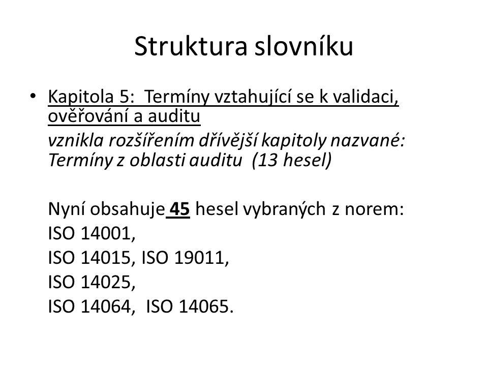 """Struktura slovníku Kapitola 6: Termíny vztahující se k produktovým systémům vznikla rozšířením kapitoly """"Termíny z oblasti výrobkového systému (21 hesel) Nyní obsahuje celkem 24 hesel přejatých až na 3 výjimky z ISO 14040."""