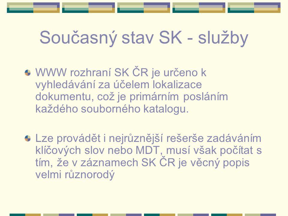 Současný stav SK - služby WWW rozhraní SK ČR je určeno k vyhledávání za účelem lokalizace dokumentu, což je primárním posláním každého souborného katalogu.