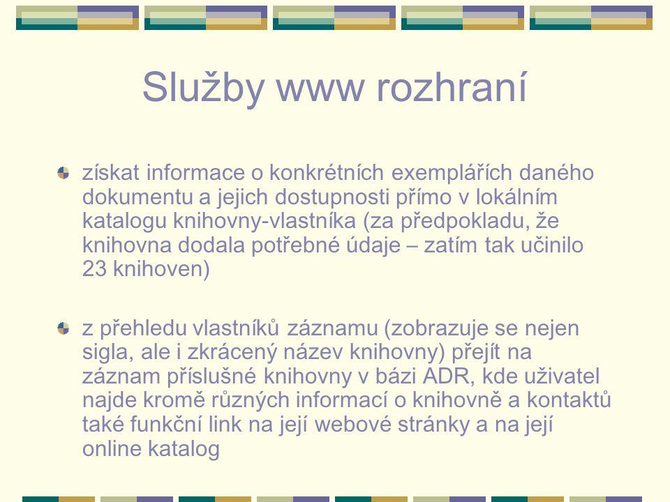 Služby www rozhraní získat informace o konkrétních exemplářích daného dokumentu a jejich dostupnosti přímo v lokálním katalogu knihovny-vlastníka (za