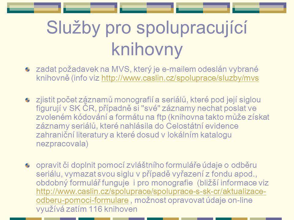 Služby pro spolupracující knihovny zadat požadavek na MVS, který je e-mailem odeslán vybrané knihovně (info viz http://www.caslin.cz/spoluprace/sluzby