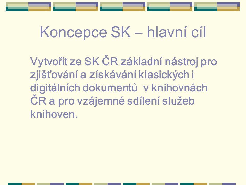 Koncepce SK – hlavní cíl Vytvořit ze SK ČR základní nástroj pro zjišťování a získávání klasických i digitálních dokumentů v knihovnách ČR a pro vzájemné sdílení služeb knihoven.