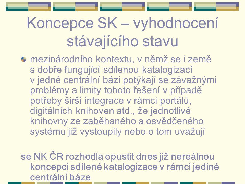 Koncepce SK – vyhodnocení stávajícího stavu mezinárodního kontextu, v němž se i země s dobře fungující sdílenou katalogizací v jedné centrální bázi potýkají se závažnými problémy a limity tohoto řešení v případě potřeby širší integrace v rámci portálů, digitálních knihoven atd., že jednotlivé knihovny ze zaběhaného a osvědčeného systému již vystoupily nebo o tom uvažují se NK ČR rozhodla opustit dnes již nereálnou koncepci sdílené katalogizace v rámci jediné centrální báze
