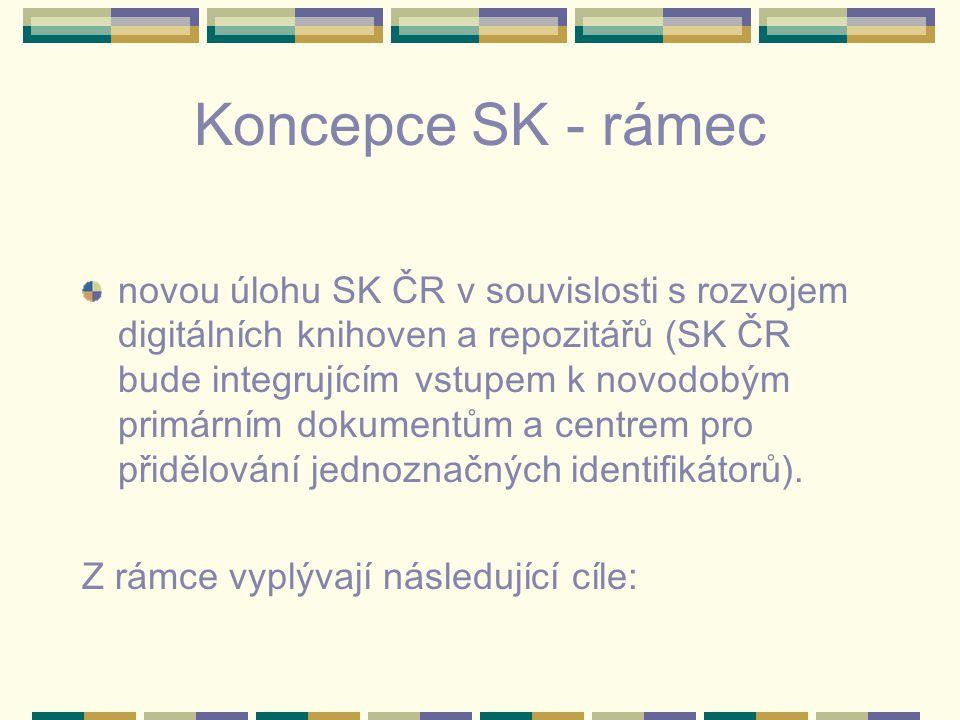 Koncepce SK - rámec novou úlohu SK ČR v souvislosti s rozvojem digitálních knihoven a repozitářů (SK ČR bude integrujícím vstupem k novodobým primárním dokumentům a centrem pro přidělování jednoznačných identifikátorů).