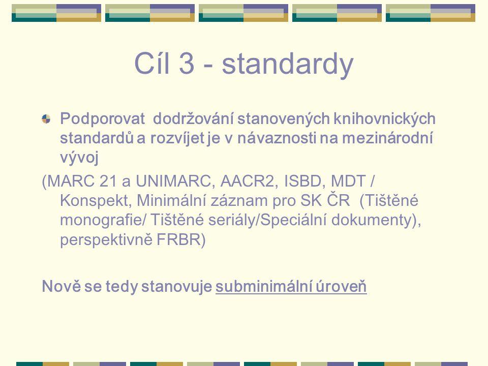 Cíl 3 - standardy Podporovat dodržování stanovených knihovnických standardů a rozvíjet je v návaznosti na mezinárodní vývoj (MARC 21 a UNIMARC, AACR2, ISBD, MDT / Konspekt, Minimální záznam pro SK ČR (Tištěné monografie/ Tištěné seriály/Speciální dokumenty), perspektivně FRBR) Nově se tedy stanovuje subminimální úroveň