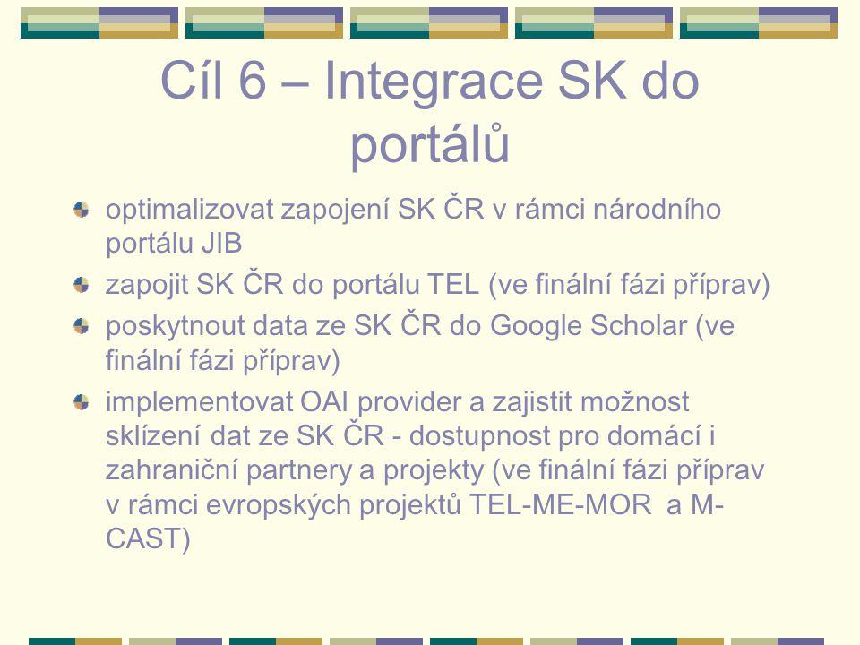 Cíl 6 – Integrace SK do portálů optimalizovat zapojení SK ČR v rámci národního portálu JIB zapojit SK ČR do portálu TEL (ve finální fázi příprav) posk