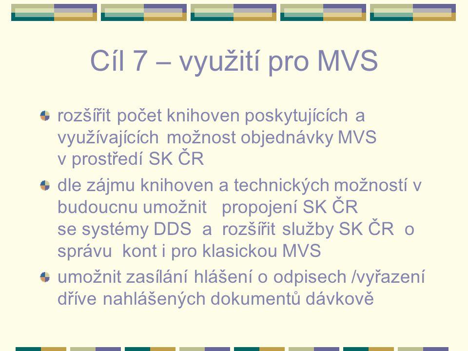 Cíl 7 – využití pro MVS rozšířit počet knihoven poskytujících a využívajících možnost objednávky MVS v prostředí SK ČR dle zájmu knihoven a technických možností v budoucnu umožnit propojení SK ČR se systémy DDS a rozšířit služby SK ČR o správu kont i pro klasickou MVS umožnit zasílání hlášení o odpisech /vyřazení dříve nahlášených dokumentů dávkově