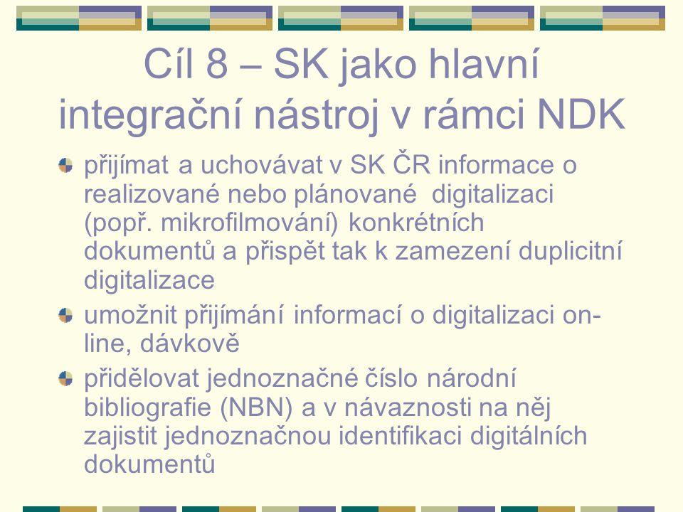 Cíl 8 – SK jako hlavní integrační nástroj v rámci NDK přijímat a uchovávat v SK ČR informace o realizované nebo plánované digitalizaci (popř. mikrofil