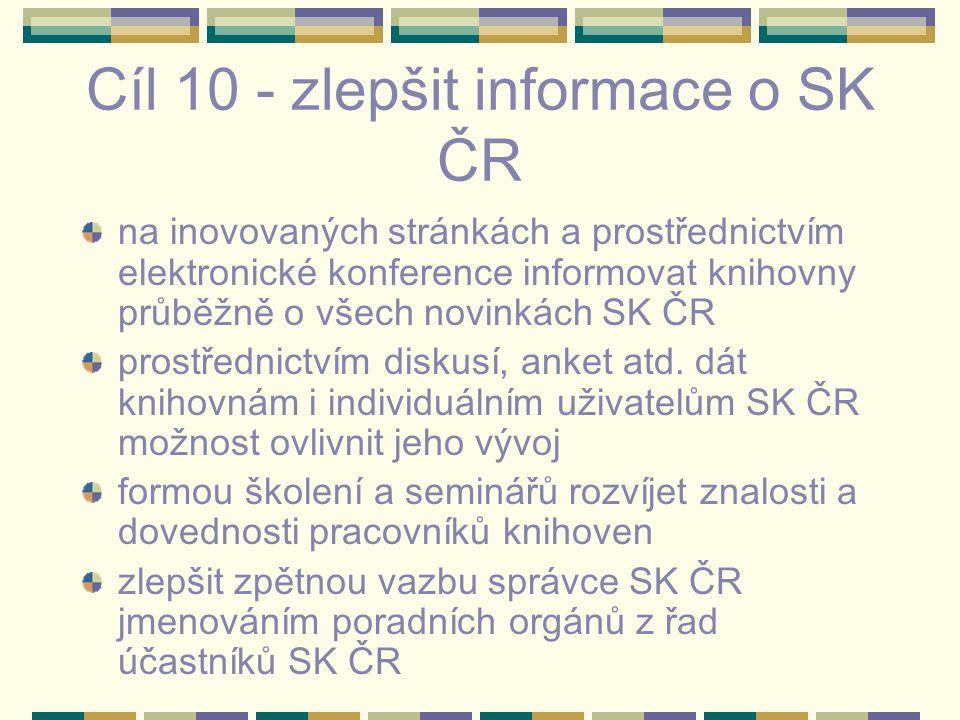 Cíl 10 - zlepšit informace o SK ČR na inovovaných stránkách a prostřednictvím elektronické konference informovat knihovny průběžně o všech novinkách SK ČR prostřednictvím diskusí, anket atd.