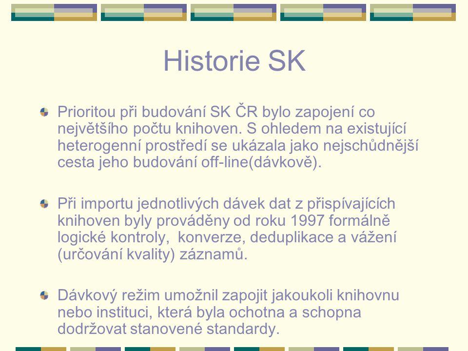 Historie SK Prioritou při budování SK ČR bylo zapojení co největšího počtu knihoven. S ohledem na existující heterogenní prostředí se ukázala jako nej