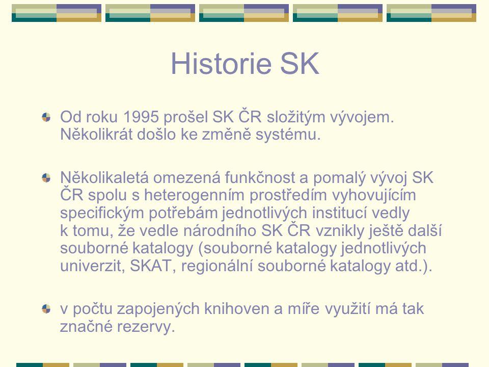 Historie SK Od roku 1995 prošel SK ČR složitým vývojem. Několikrát došlo ke změně systému. Několikaletá omezená funkčnost a pomalý vývoj SK ČR spolu s