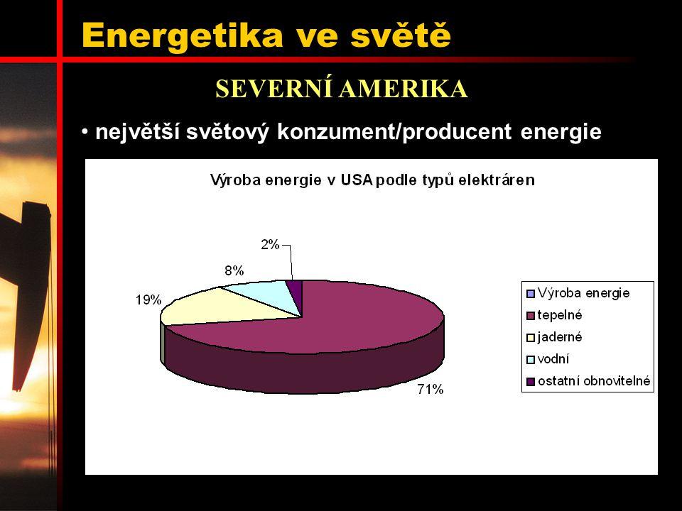 Energetika ve světě SEVERNÍ AMERIKA největší světový konzument/producent energie