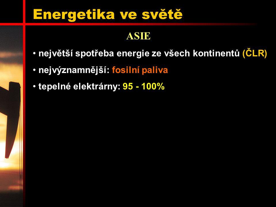 Energetika ve světě ASIE největší spotřeba energie ze všech kontinentů (ČLR) nejvýznamnější: fosilní paliva tepelné elektrárny: 95 - 100%