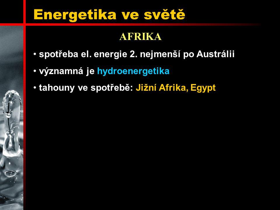 Energetika ve světě AFRIKA spotřeba el. energie 2. nejmenší po Austrálii významná je hydroenergetika tahouny ve spotřebě: Jižní Afrika, Egypt