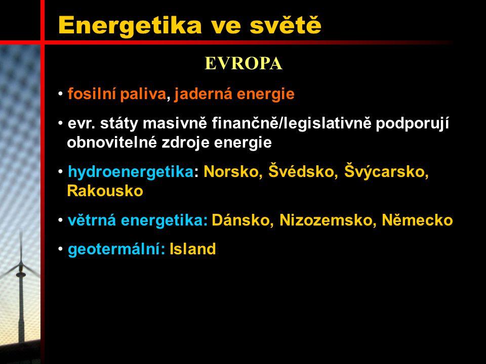 Energetika ve světě EVROPA fosilní paliva, jaderná energie evr. státy masivně finančně/legislativně podporují obnovitelné zdroje energie hydroenergeti