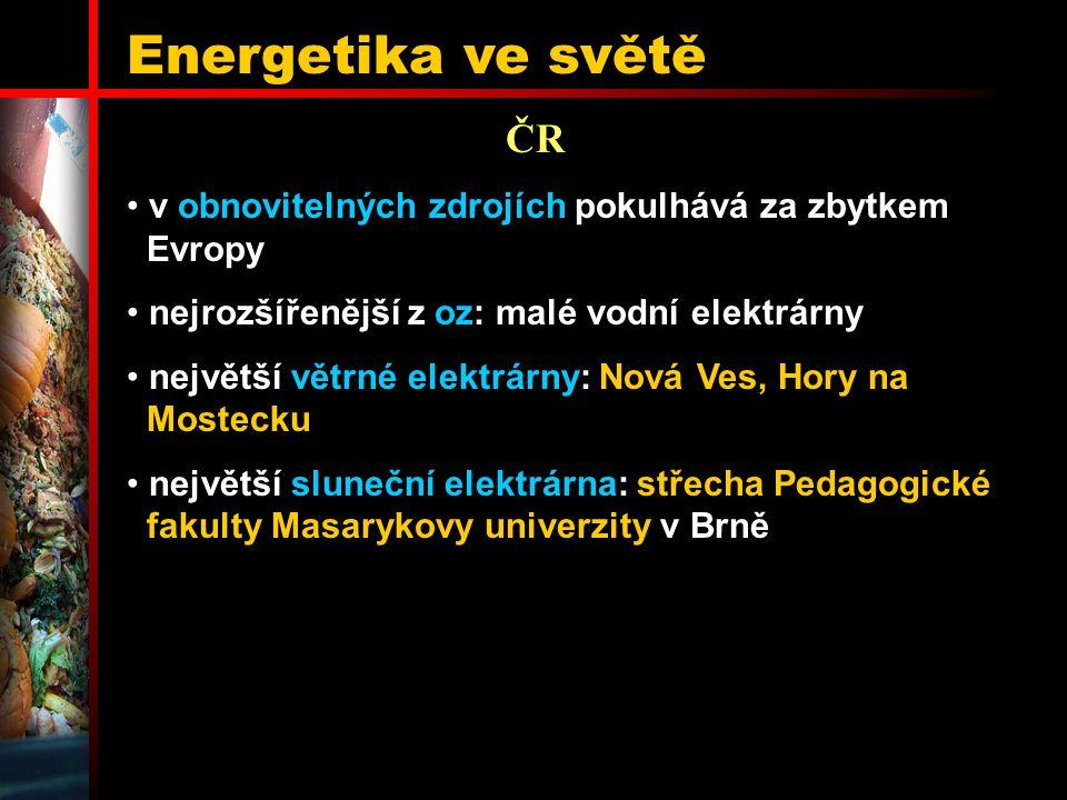 Energetika ve světě ČR v obnovitelných zdrojích pokulhává za zbytkem Evropy nejrozšířenější z oz: malé vodní elektrárny největší větrné elektrárny: No