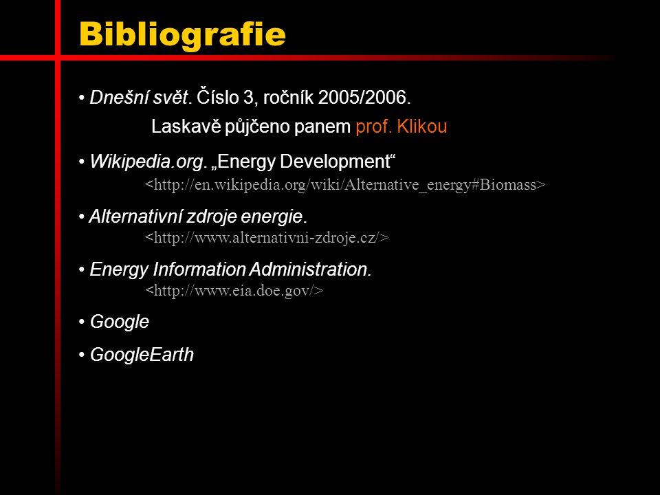 """Bibliografie Dnešní svět. Číslo 3, ročník 2005/2006. Laskavě půjčeno panem prof. Klikou Wikipedia.org. """"Energy Development"""" Alternativní zdroje energi"""