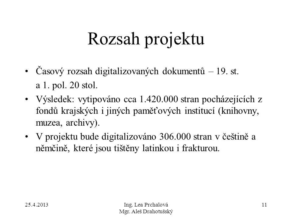 25.4.2013Ing. Lea Prchalová Mgr. Aleš Drahotušský 11 Rozsah projektu Časový rozsah digitalizovaných dokumentů – 19. st. a 1. pol. 20 stol. Výsledek: v