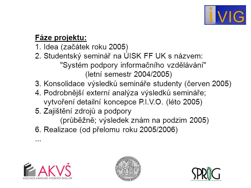 Fáze projektu: 1. Idea (začátek roku 2005) 2.