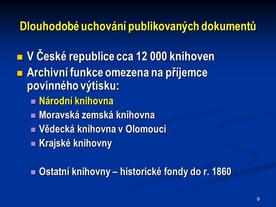 9 Dlouhodobé uchování publikovaných dokumentů V České republice cca 12 000 knihoven V České republice cca 12 000 knihoven Archivní funkce omezena na p