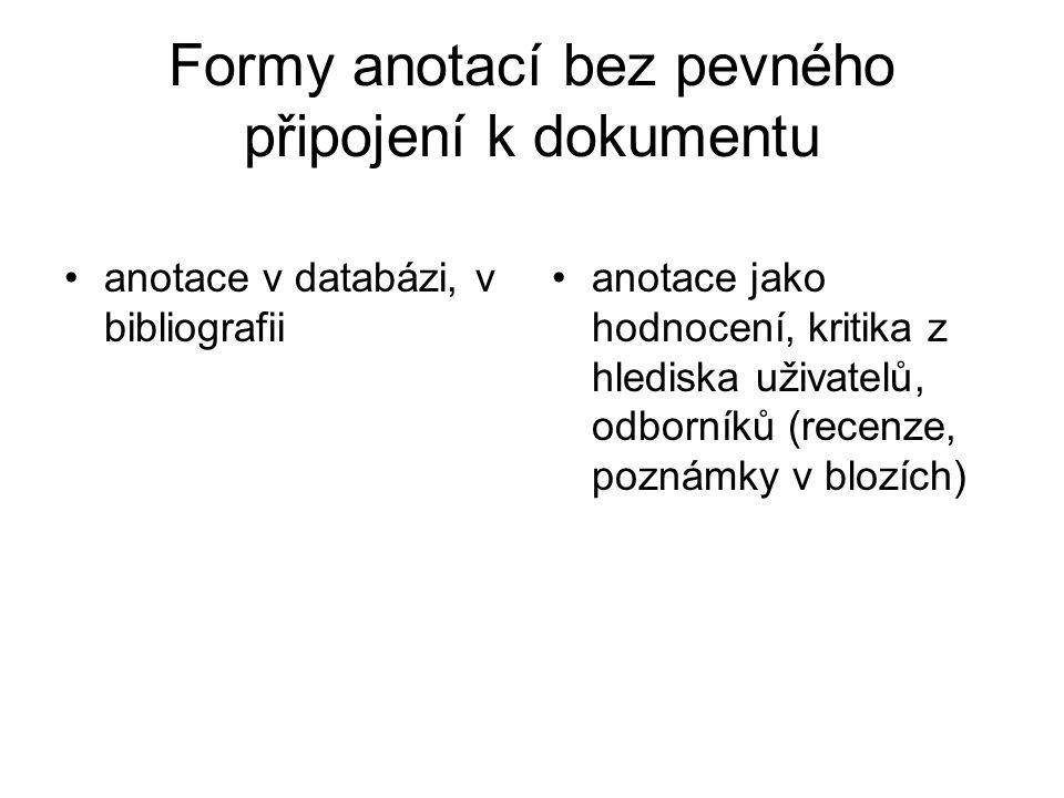 Formy anotací bez pevného připojení k dokumentu anotace v databázi, v bibliografii anotace jako hodnocení, kritika z hlediska uživatelů, odborníků (recenze, poznámky v blozích)