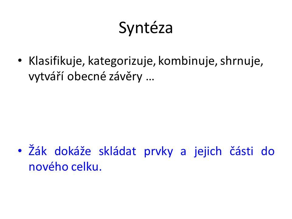 Syntéza Klasifikuje, kategorizuje, kombinuje, shrnuje, vytváří obecné závěry … Žák dokáže skládat prvky a jejich části do nového celku.