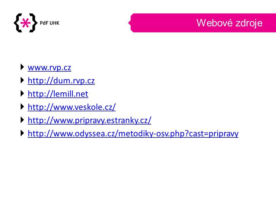 Webové zdroje  www.rvp.cz www.rvp.cz  http://dum.rvp.cz http://dum.rvp.cz  http://lemill.net http://lemill.net  http://www.veskole.cz/ http://www.veskole.cz/  http://www.pripravy.estranky.cz/ http://www.pripravy.estranky.cz/  http://www.odyssea.cz/metodiky-osv.php?cast=pripravy http://www.odyssea.cz/metodiky-osv.php?cast=pripravy