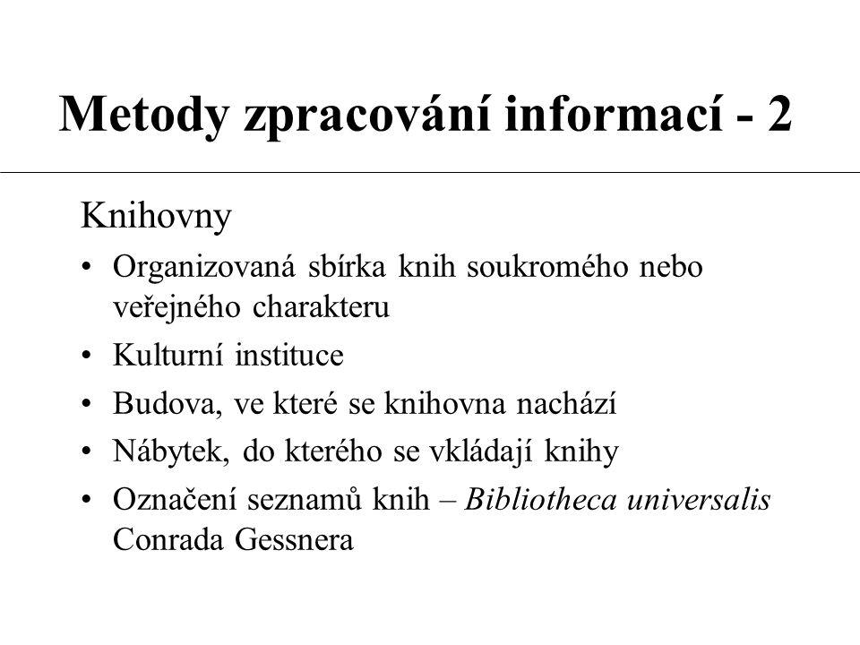 Metody zpracování informací - 2 Knihovny Organizovaná sbírka knih soukromého nebo veřejného charakteru Kulturní instituce Budova, ve které se knihovna nachází Nábytek, do kterého se vkládají knihy Označení seznamů knih – Bibliotheca universalis Conrada Gessnera