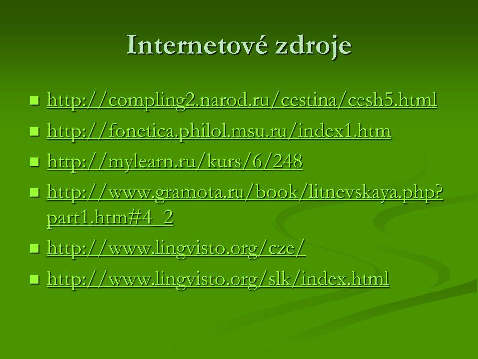 Internetové zdroje http://compling2.narod.ru/cestina/cesh5.html http://compling2.narod.ru/cestina/cesh5.html http://compling2.narod.ru/cestina/cesh5.html http://fonetica.philol.msu.ru/index1.htm http://fonetica.philol.msu.ru/index1.htm http://fonetica.philol.msu.ru/index1.htm http://mylearn.ru/kurs/6/248 http://mylearn.ru/kurs/6/248 http://mylearn.ru/kurs/6/248 http://www.gramota.ru/book/litnevskaya.php.