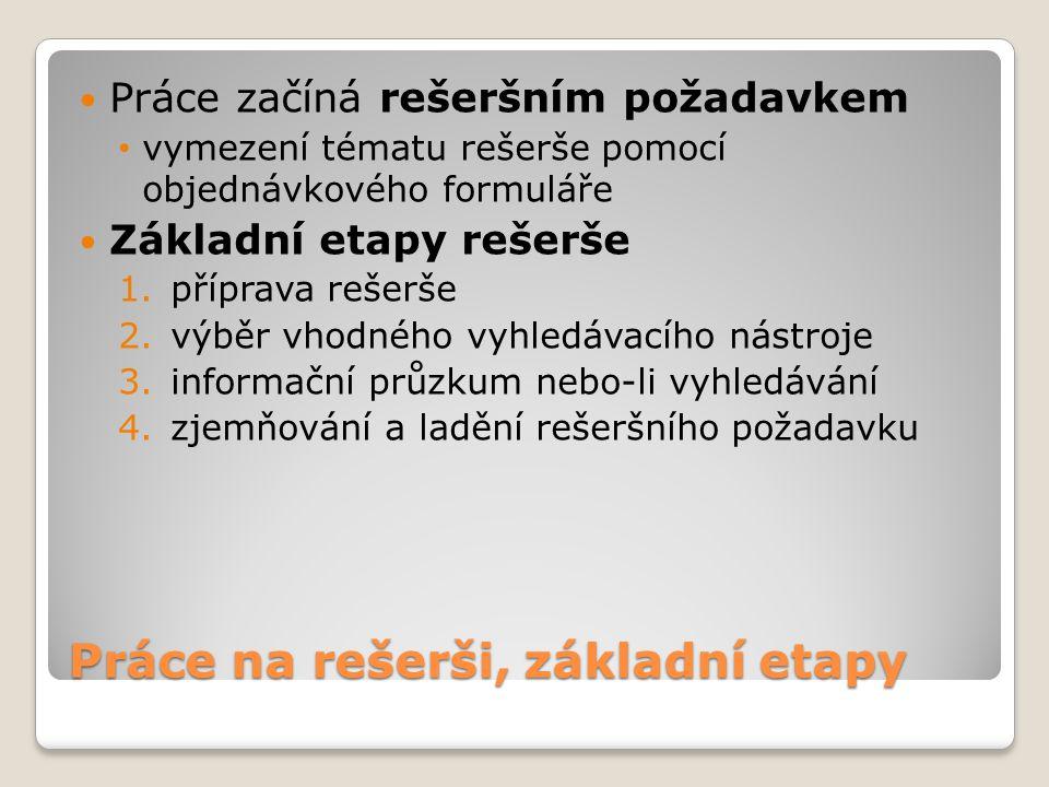 Práce na rešerši, základní etapy Práce začíná rešeršním požadavkem vymezení tématu rešerše pomocí objednávkového formuláře Základní etapy rešerše 1.př