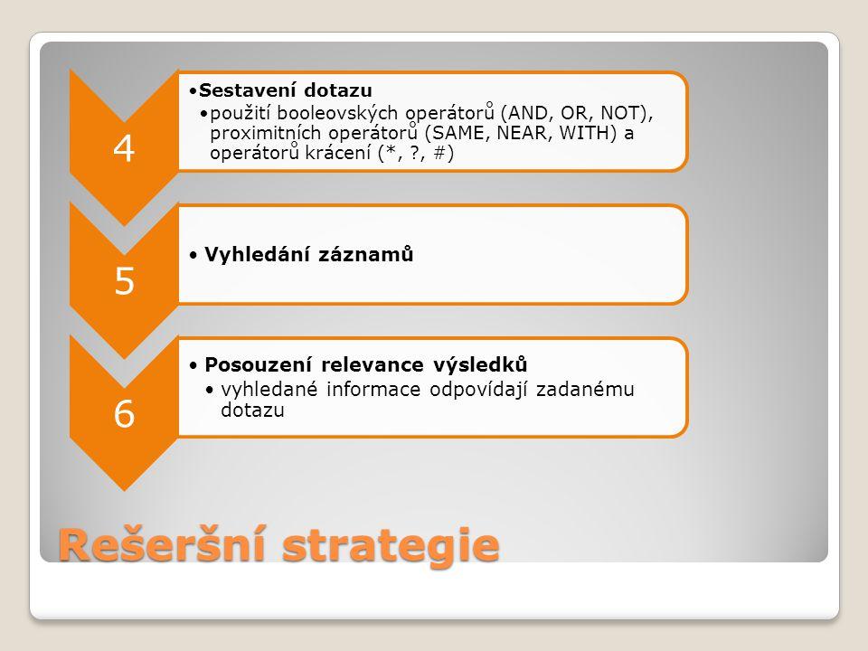 Rešeršní strategie 4 Sestavení dotazu použití booleovských operátorů (AND, OR, NOT), proximitních operátorů (SAME, NEAR, WITH) a operátorů krácení (*,