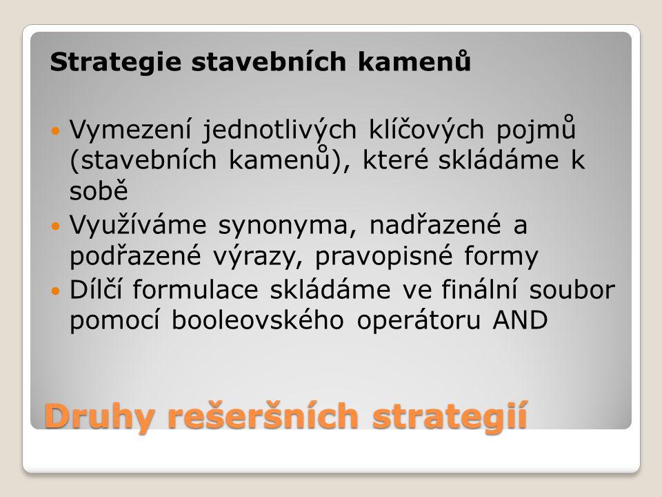 Druhy rešeršních strategií Strategie stavebních kamenů Vymezení jednotlivých klíčových pojmů (stavebních kamenů), které skládáme k sobě Využíváme syno
