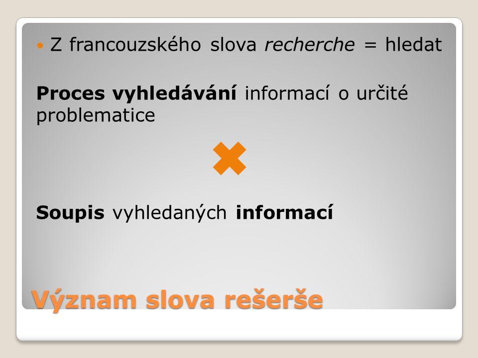 Význam slova rešerše Z francouzského slova recherche = hledat Proces vyhledávání informací o určité problematice Soupis vyhledaných informací