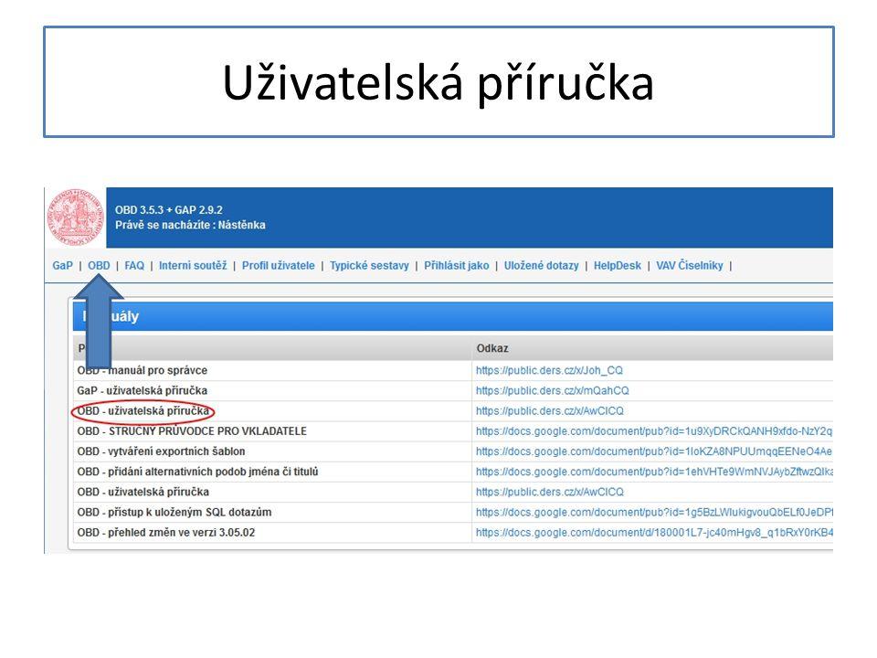 Vložení nového záznamu Po kliknutí na OBD se objeví okno se základním filtrem, klikněte na Nový záznam