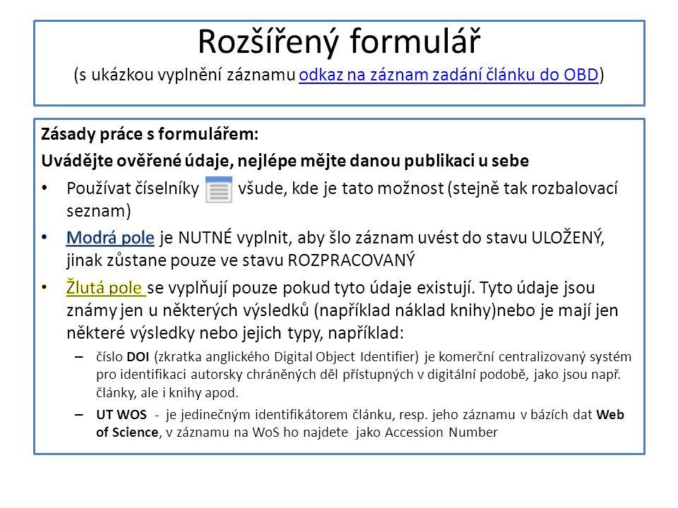 Rozšířený formulář (s ukázkou vyplnění záznamu odkaz na záznam zadání článku do OBD)odkaz na záznam zadání článku do OBD
