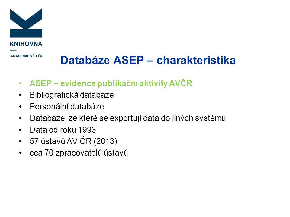 Databáze ASEP – charakteristika ASEP – evidence publikační aktivity AVČR Bibliografická databáze Personální databáze Databáze, ze které se exportují d