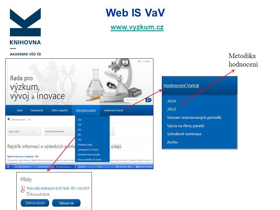 Web IS VaV www.vyzkum.cz www.vyzkum.cz Metodika hodnocení