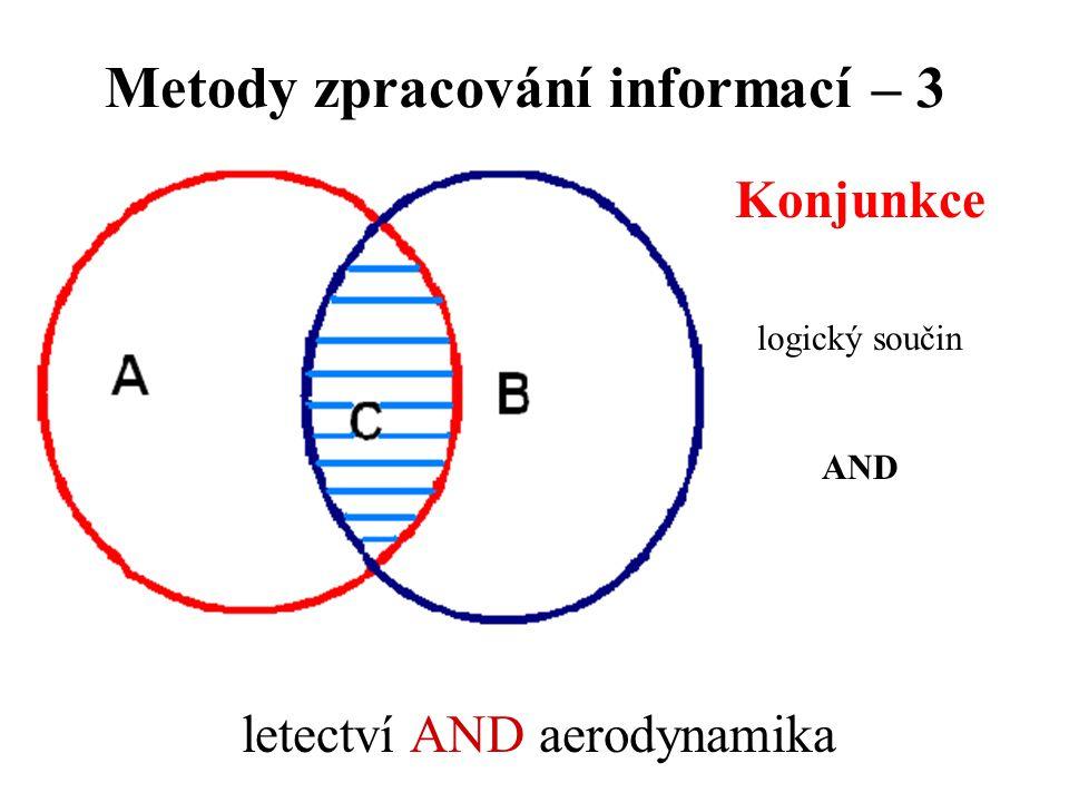 Metody zpracování informací – 3 Konjunkce logický součin AND letectví AND aerodynamika