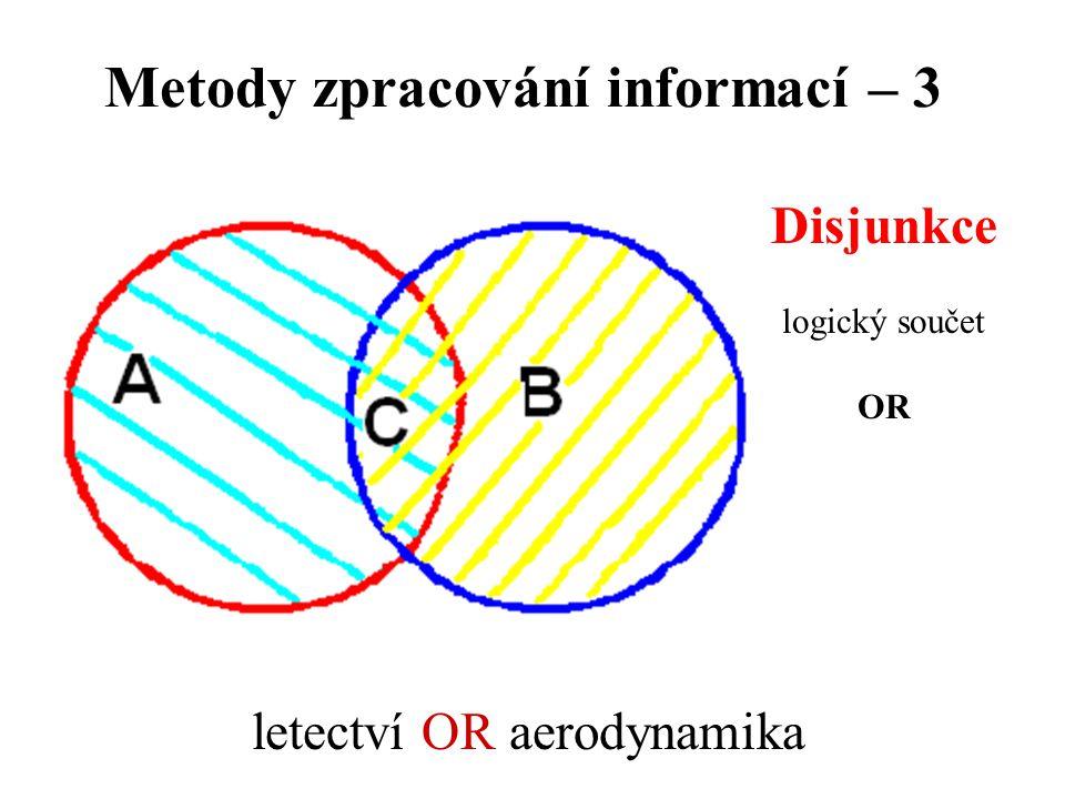 Metody zpracování informací – 3 Disjunkce logický součet OR letectví OR aerodynamika