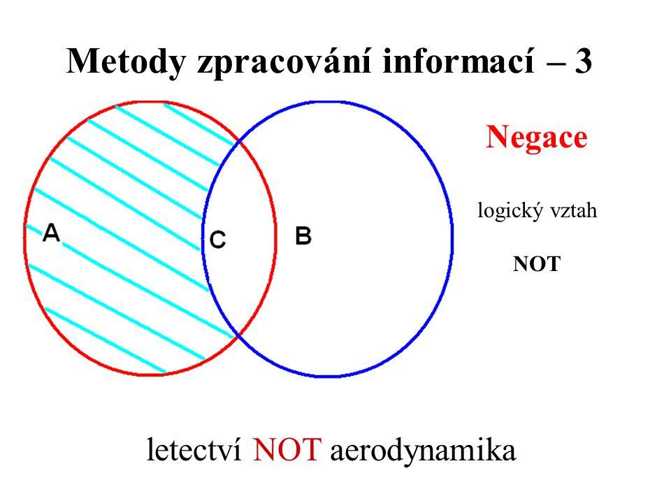Metody zpracování informací – 3 Negace logický vztah NOT letectví NOT aerodynamika