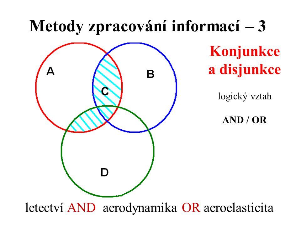 Metody zpracování informací – 3 Konjunkce a disjunkce logický vztah AND / OR letectví AND aerodynamika OR aeroelasticita C