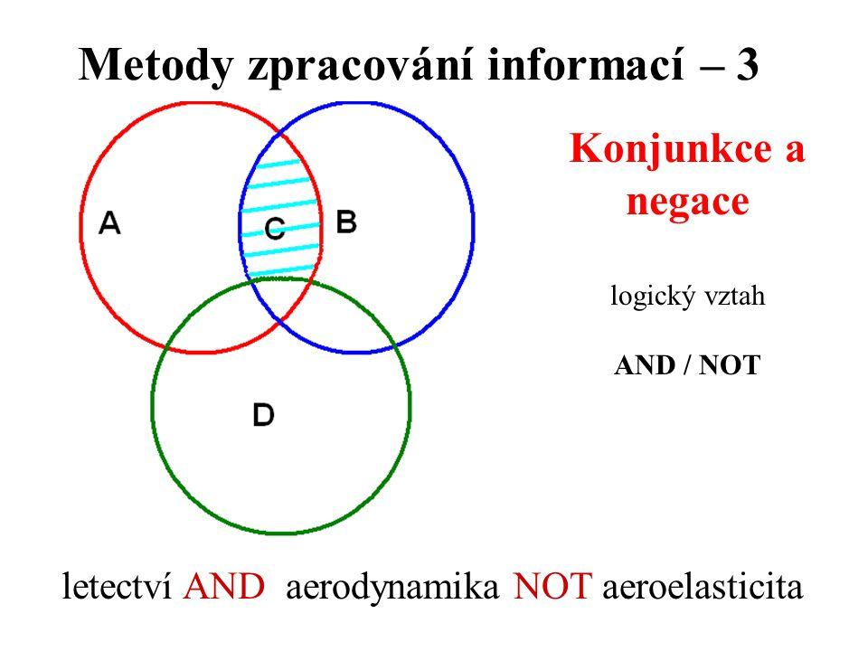Metody zpracování informací – 3 Konjunkce a negace logický vztah AND / NOT letectví AND aerodynamika NOT aeroelasticita