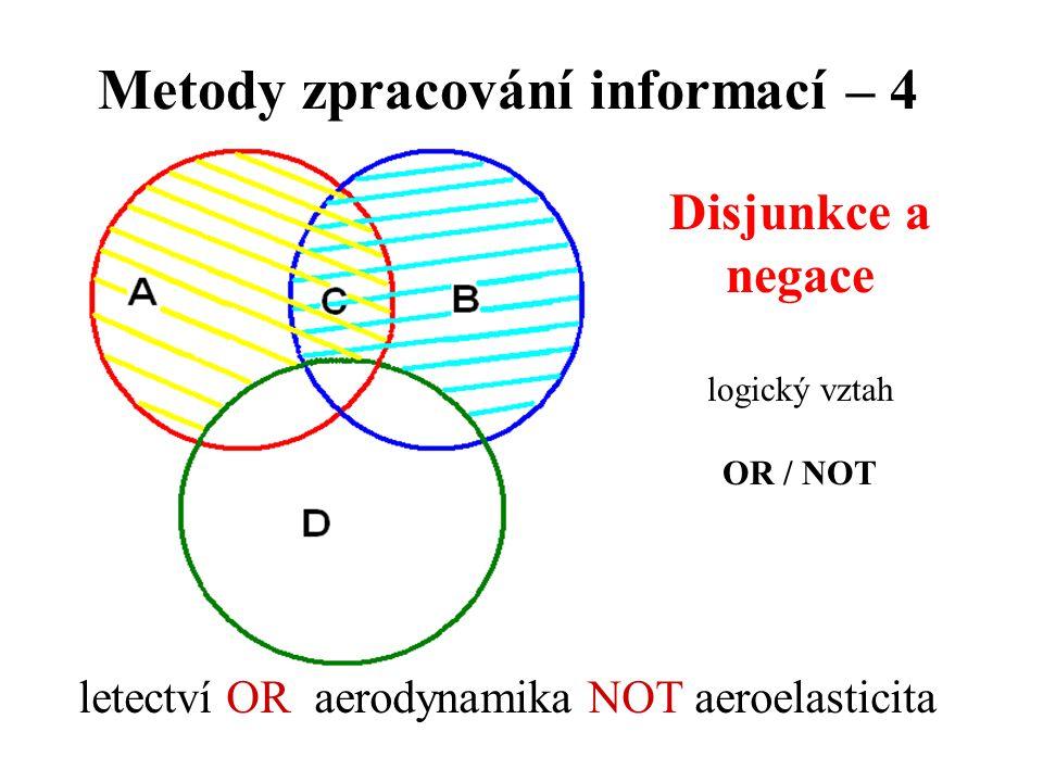 Metody zpracování informací – 4 Disjunkce a negace logický vztah OR / NOT letectví OR aerodynamika NOT aeroelasticita