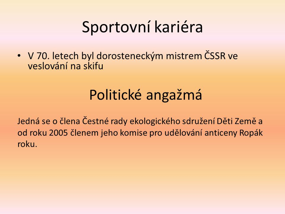 Sportovní kariéra V 70.