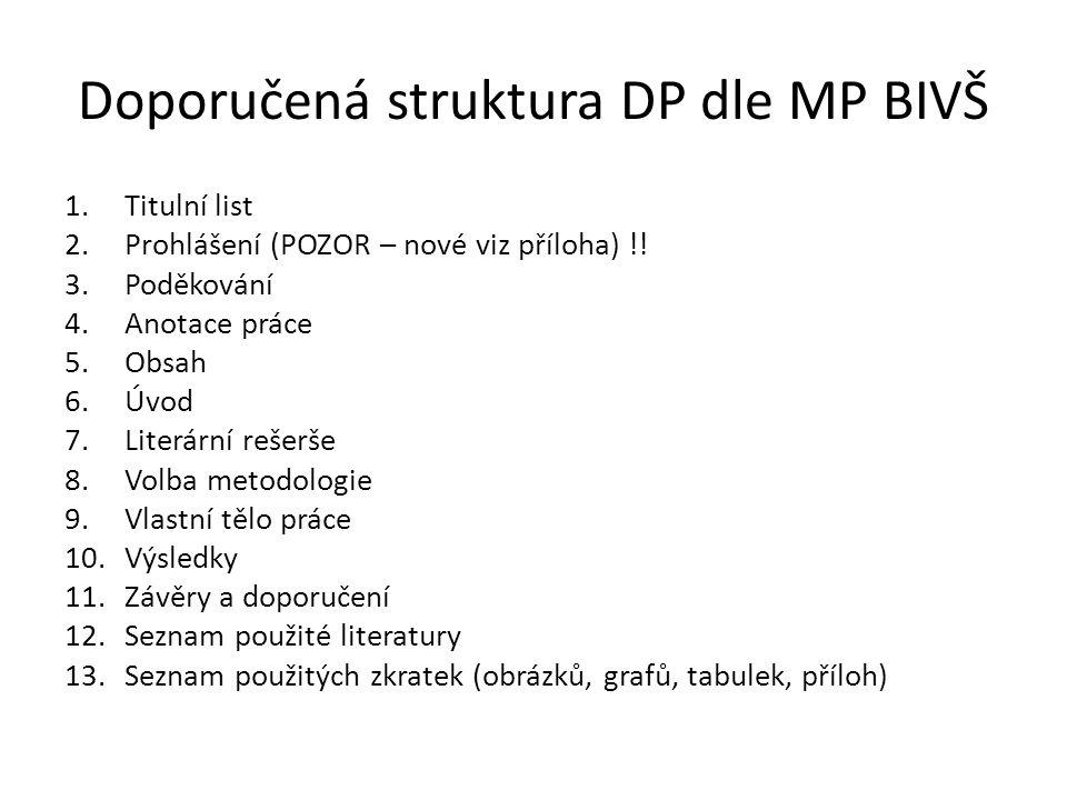 Doporučená struktura DP dle MP BIVŠ 1.Titulní list 2.Prohlášení (POZOR – nové viz příloha) !! 3.Poděkování 4.Anotace práce 5.Obsah 6.Úvod 7.Literární
