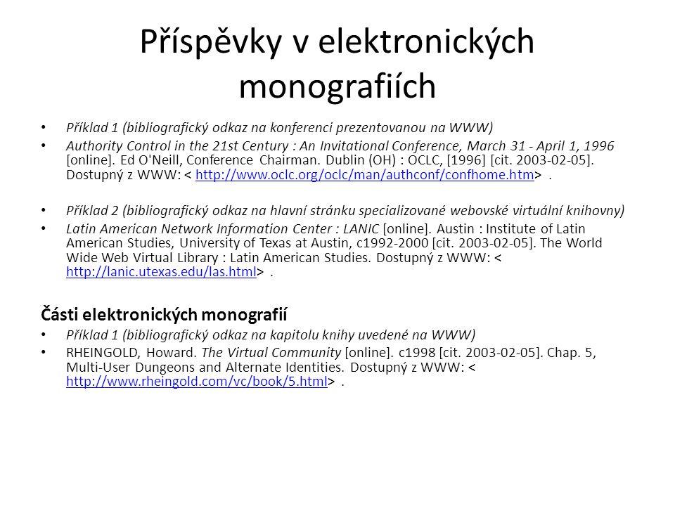 Příspěvky v elektronických monografiích pokrač.